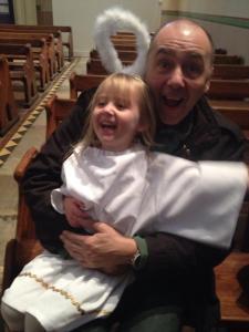 Mini Kat and My Dad at the Nativity. 4/12/2014