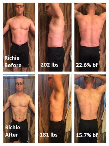 Richie ended up with abs and a v-taper.