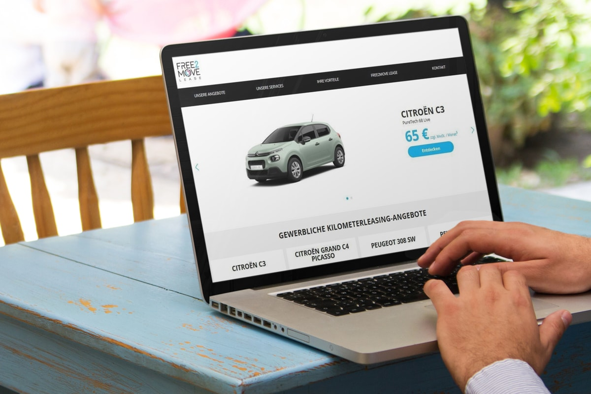 Startseite der free2move Lease - anyMOTION Groupe PSA Digitale Transformation Digitalagentur