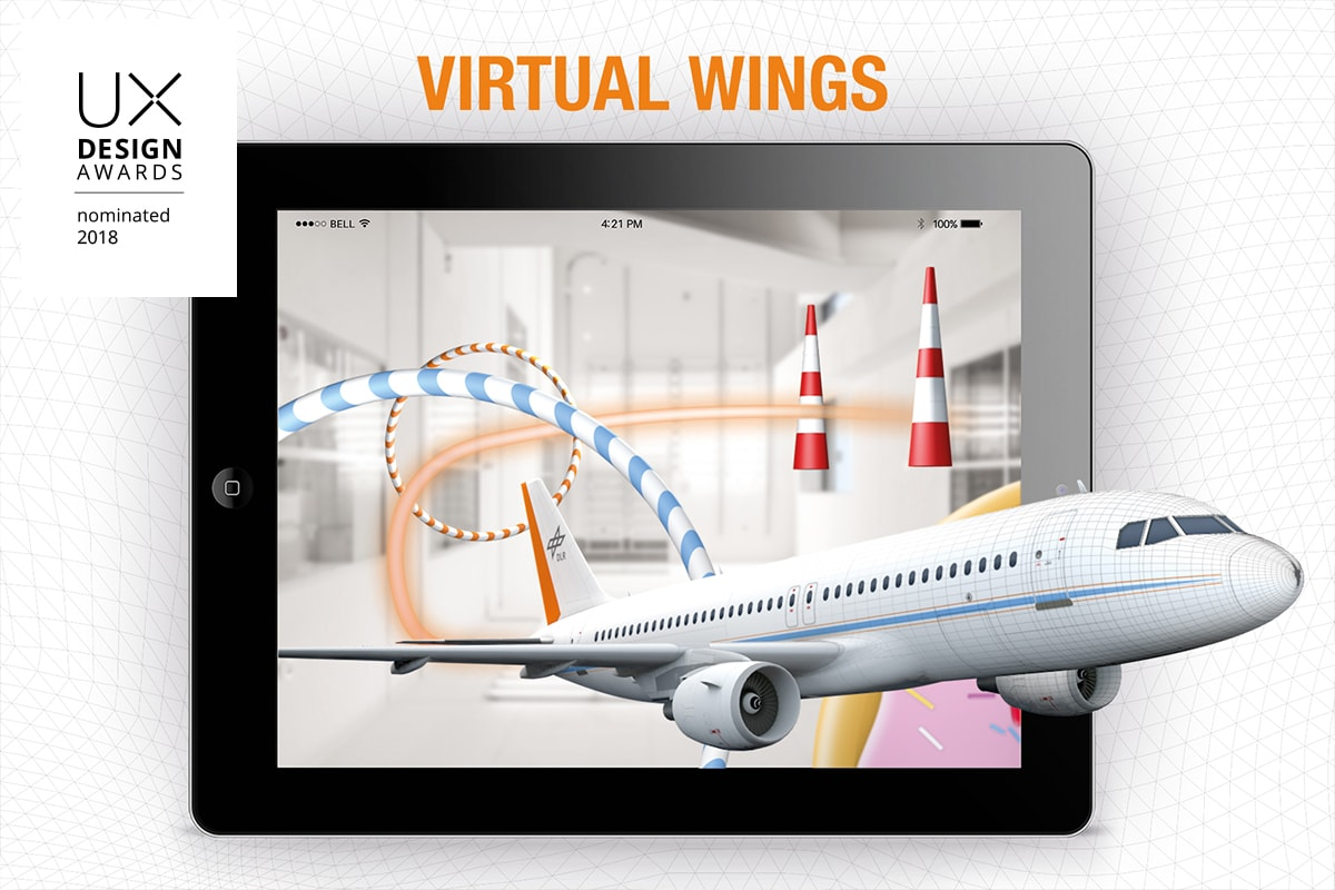 Flugzeugentwicklung DLR_next Virtual Wings UX Design Awards 2018 nominated - anyMOTION Digitalagentur Düsseldorf - Titelgrafik