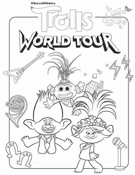 Free Printable Trolls World Tour Coloring Pages & Party