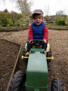 Playing on the tractors at Shorelands