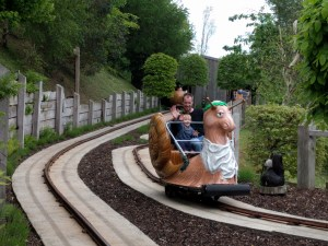 Enjoying the snail ride at Watermouth Castle