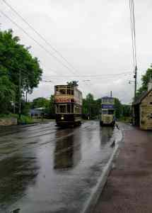 Two trams on a rainy day at Beamish Museum