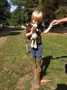 Boy balancing on posts