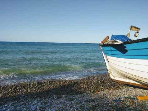 Boat on a pebble beach