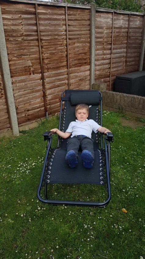 L on garden lounger