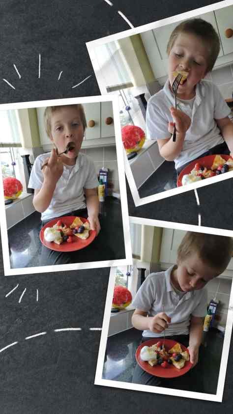 L loved his pancakes