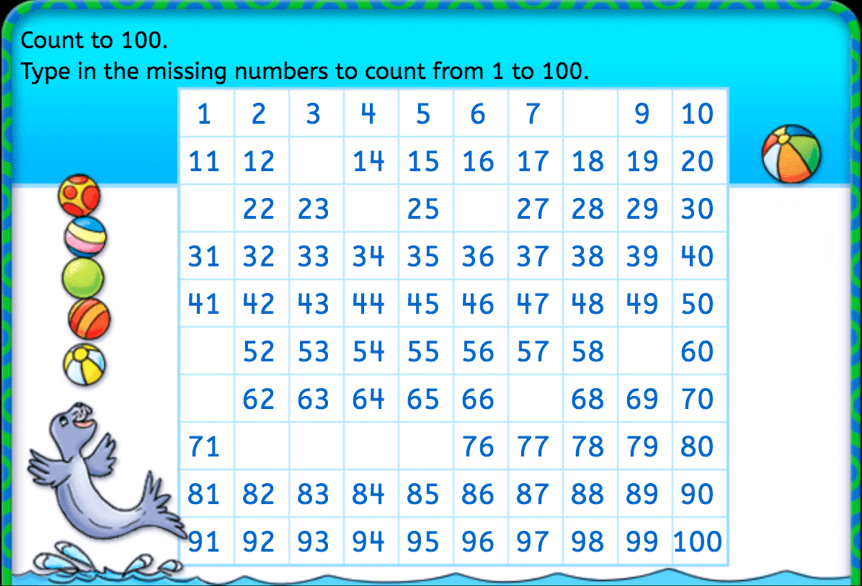 Complete The Chart Counting 1 100