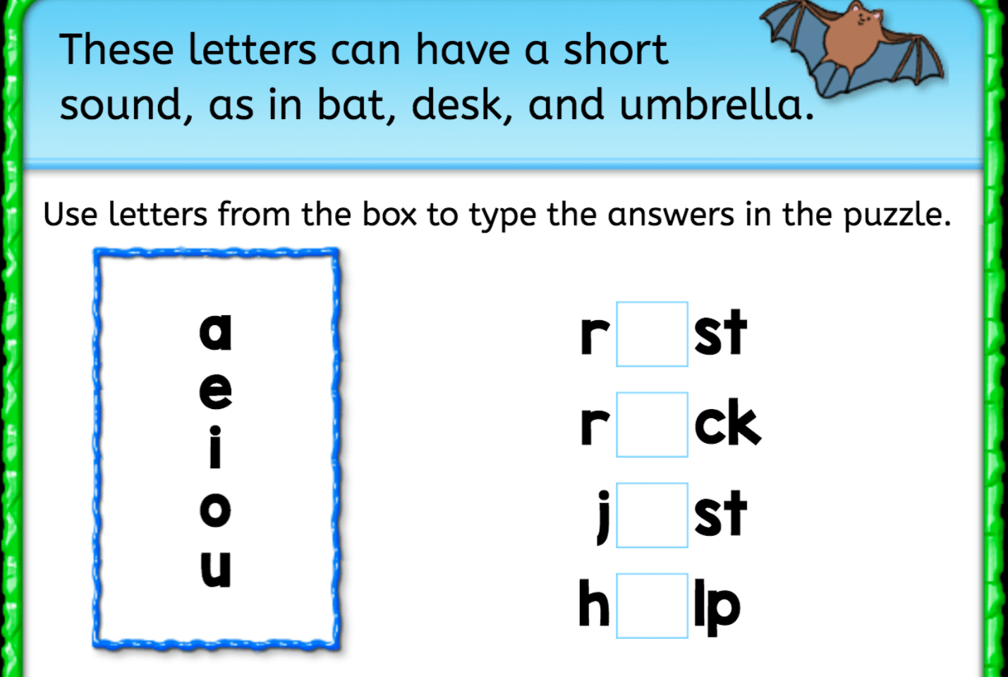 Finish The Word Short Vowels