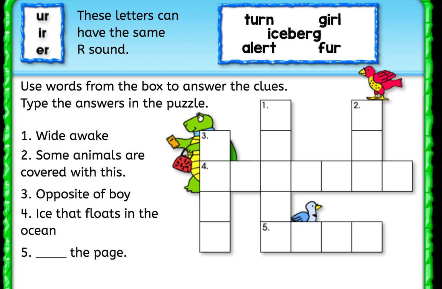 Same R Sound Crossword Puzzle