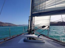Sailing up Lyttelton Harbour