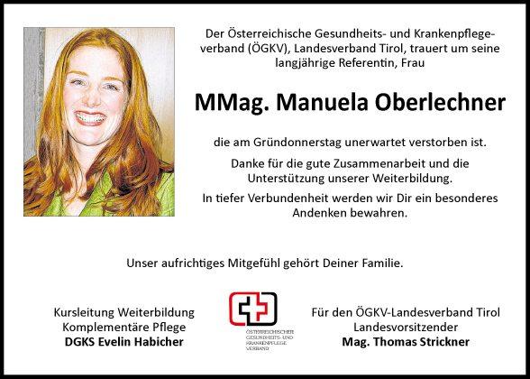Traueranzeige von Manuela Oberlechner vom 04042014