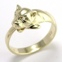 Anzor Jewelry - 14k Solid Yellow Gold Cat Head Ring