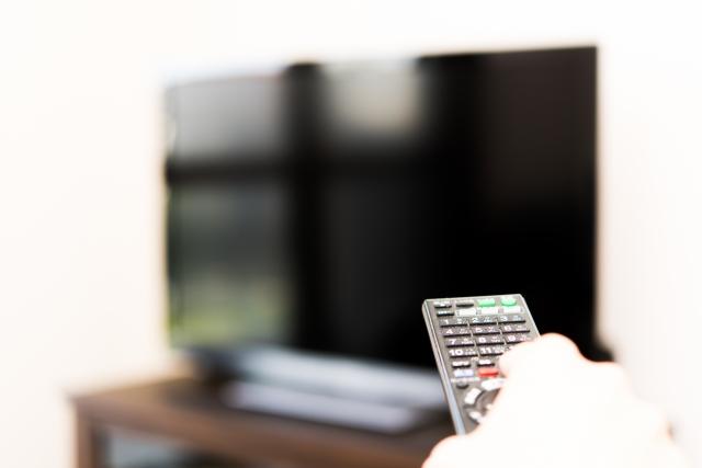 テレビをつけようとリモコンを持つ