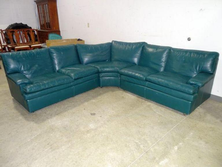 auction ohio green leather sectional sofa