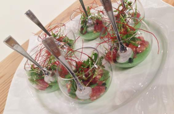 Catering Services Las Vegas Ahi Tuna Poke Avocado Panna Cotta Micro Cilantro Nova of California Event