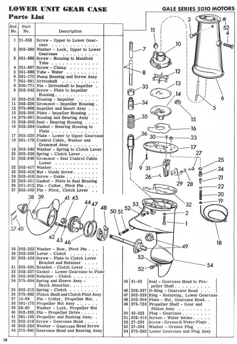 '51-54′ Goodyear 5Hp SeaBee Lower unit Seal Kit