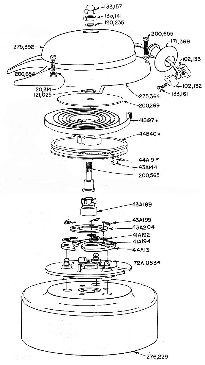 1946-1948 Zephyr 4404 carburetor blow up diagram for