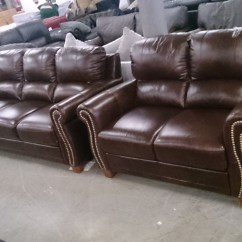 Brown Leather Studded Sofa Cheap Beds Next Day Delivery Designer 3 Seater And 2