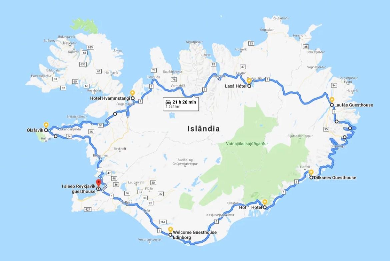 Mapa - Roadptrip pela Islândia