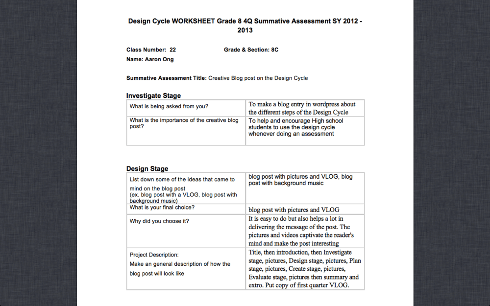 medium resolution of Grade 8 Design Cycle Worksheets Examples   Aaron Ong's XS Blog