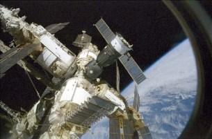 Shuttle Atlantis, showing the station's Kvant-2, Priroda, Spektr & Kristall modules