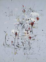 Abstraktion in Österreich, Hans Staudacher, Paris, 1957 Gouache, Deckweiß, Tusche, auf hellblauem Papier, © Albertina Wien
