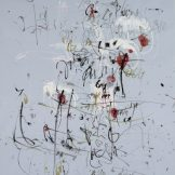 Sammlung Ploner, Abstraktion in Österreich, Hans Staudacher, Paris, 1957 Gouache, Deckweiß, Tusche, auf hellblauem Papier, © Albertina Wien