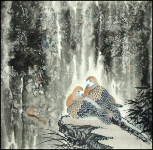 Yang qiaoling, Ink on Xuan Paper, Bird, Size (65x65cm)2015