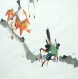 Yang qiaoling, Ink on Xuan Paper, Bird10, Size (40x40cm)2015