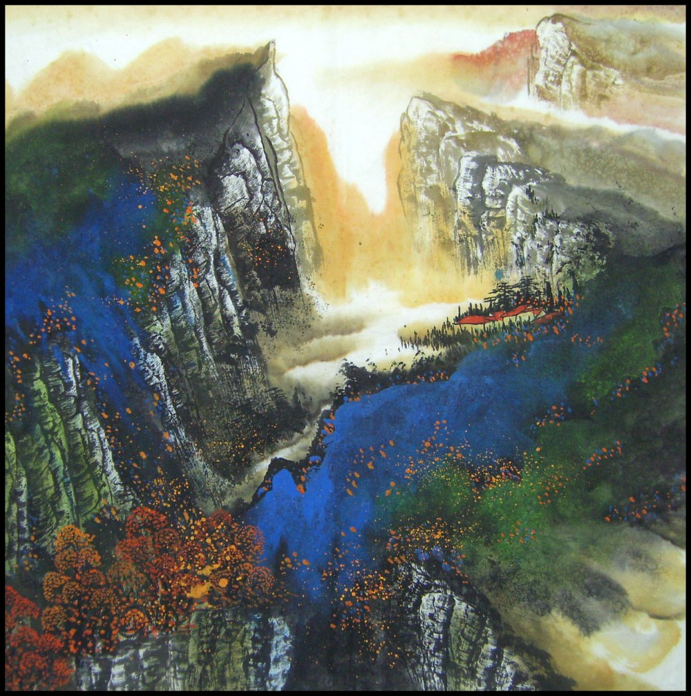 Yang qiaoling, Ink on Xuan Paper, Landscape1, Size (68x68cm)2015 (2)