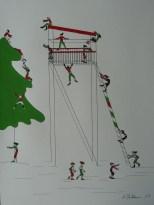 Michaela Stockhammer. Tinte, Acryl. 30x 40 cm. Tit. Ein bewegter Hochstand! | Art On Screen - [AOS] Magazine