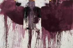 Meisterwerke der Sammlung Essl, Hermann Nitsch, Kreuzwegstation, 1990, Öl, Blut und Malhemd auf weißgrundierter Jute, 200 x 300 cm, © BILDRECHT Wien, 2016, Foto Archiv Nitsch