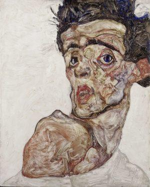 Egon Schiele und Gustav Klimt, Egon Schiele, Selbstbildnis mit hochgezogener nackter Schulter, Art On Screen - [AOS] Magazine - NEWS