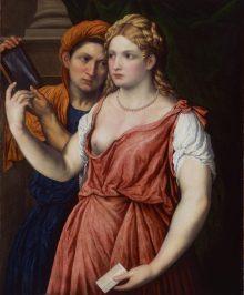 PARIS BORDONE, Junge Dame mit Spiegel und Magd, Die Poesie der venezianischen Malerei, Art On Screen - News - [AOS] Magazine