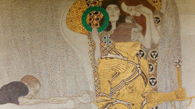 Der Beethovenfries von Gustav Klimt,Diesen Kuss der ganzen Welt. Gustav Klimt (1862-1918) war einer der bekanntesten Vertreter des Wiener Jugendstils und Präsident der Wiener Secession, Art On Screen - News - [AOS] Magazine