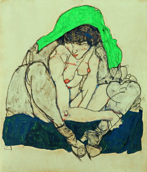 Egon Schiele Ausstellung, EGON SCHIELE 1890–1918, Kauernde mit grünem Kopftuch, 1914, Art On Screen - News - [AOS] Magazine