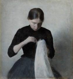 Ein junges nähendes Mädchen, Im Licht des Nordens, Dänische Malerei, Sammlung Ordrupgaard, Ausstellung in Hamburg, Hamburger Kunsthalle, VILHELM HAMMERSHØI