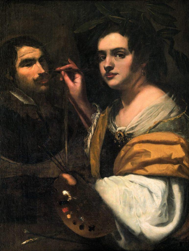 Simon Vouet, zugeschrieben, Allegorie der Malerei (Selbstportrait), Wege des Barock, Die Nationalgalerien Barberini Corsini in Rom, Ausstellung Wege des Barock, Museum Barberini,
