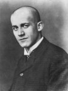 Oskar Kokoschka mit kahlrasiertem Kopf,