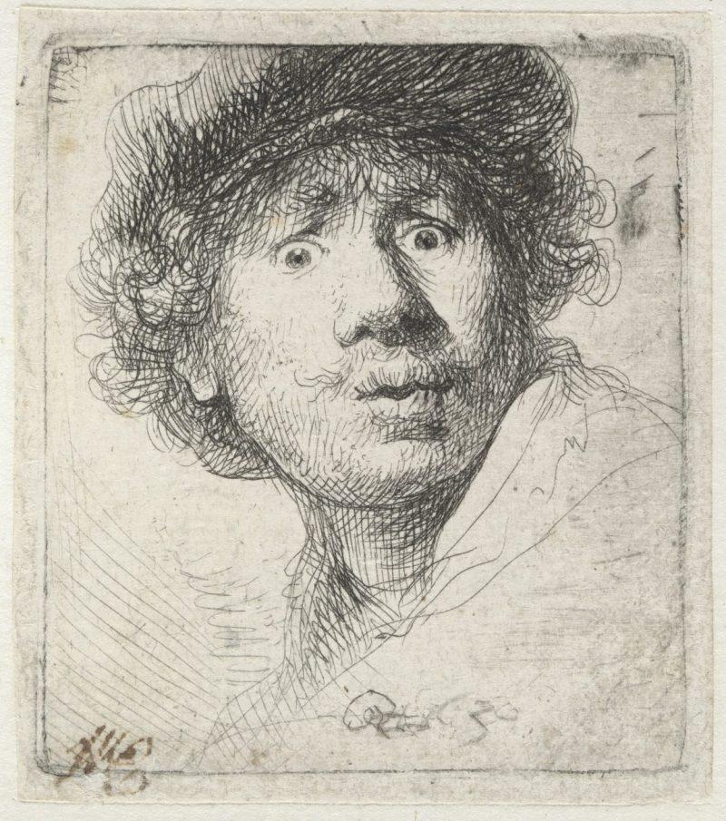 Rembrandt Meisterwerke, Selbstbildnis mit Mütze, Radierung, Zeichnungen, Rembrandt Ausstellung, Hamburger Kunsthalle