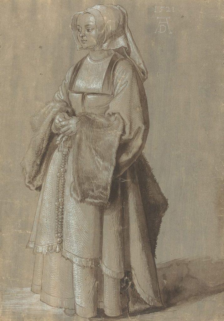 Albrecht Dürer Ausstellung, Albrecht Dürers Zeichnungen, Meisterwerke und Zeichnungen, Ausstellung in der Albertina, Junge Frau in niederländischer Tracht