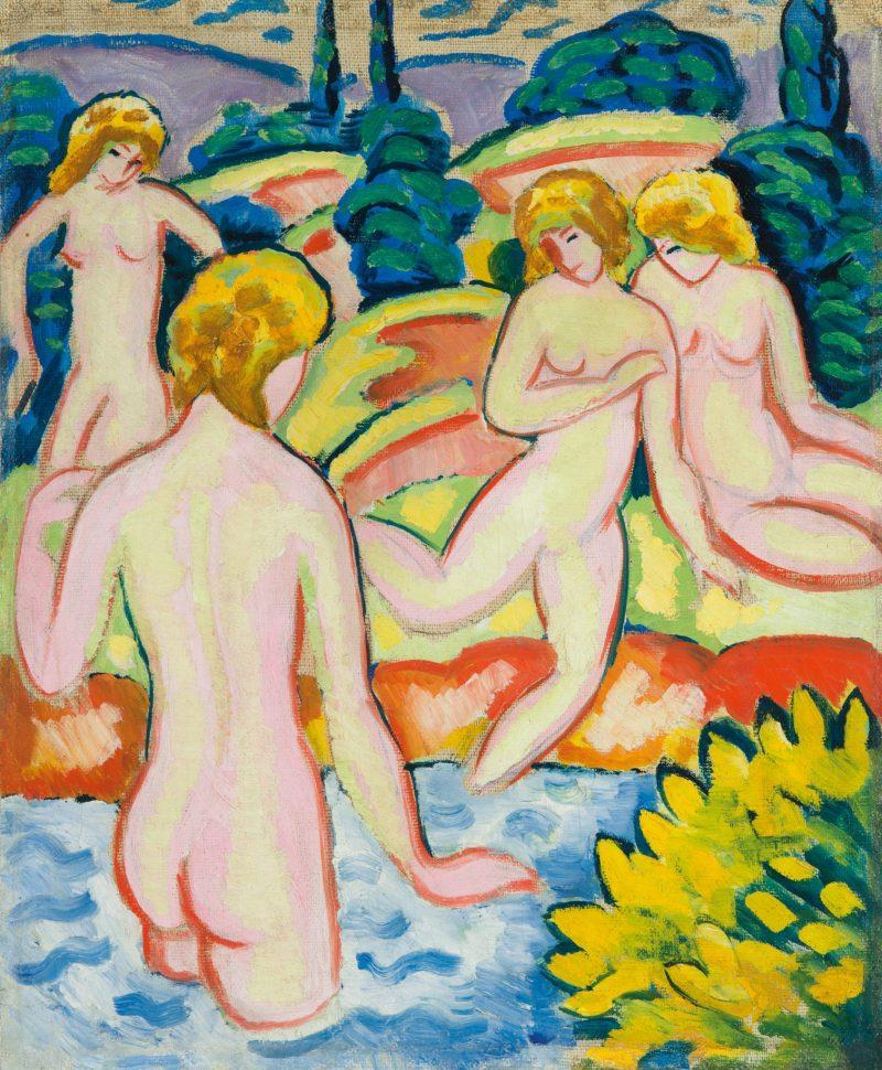 AUGUST MACKE, Badende mit Lebensbäumen, Deutscher Expressionismus, Ausstellung im Leopold Museum