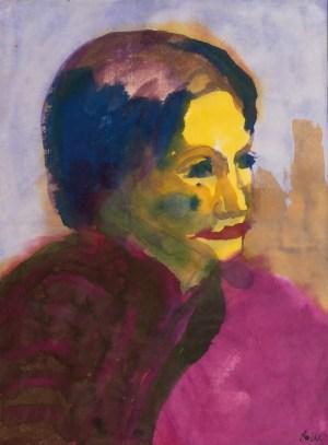 EMIL NOLDE, Frauenkopf, Aquarell auf Papier, Deutscher Expressionismus, Ausstellung im Leopold Museum