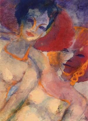 EMIL NOLDE, Sommergäste, Aquarell auf Japanpapier, Deutscher Expressionismus, Ausstellung im Leopold Museum, die sammlungen braglia und johenning