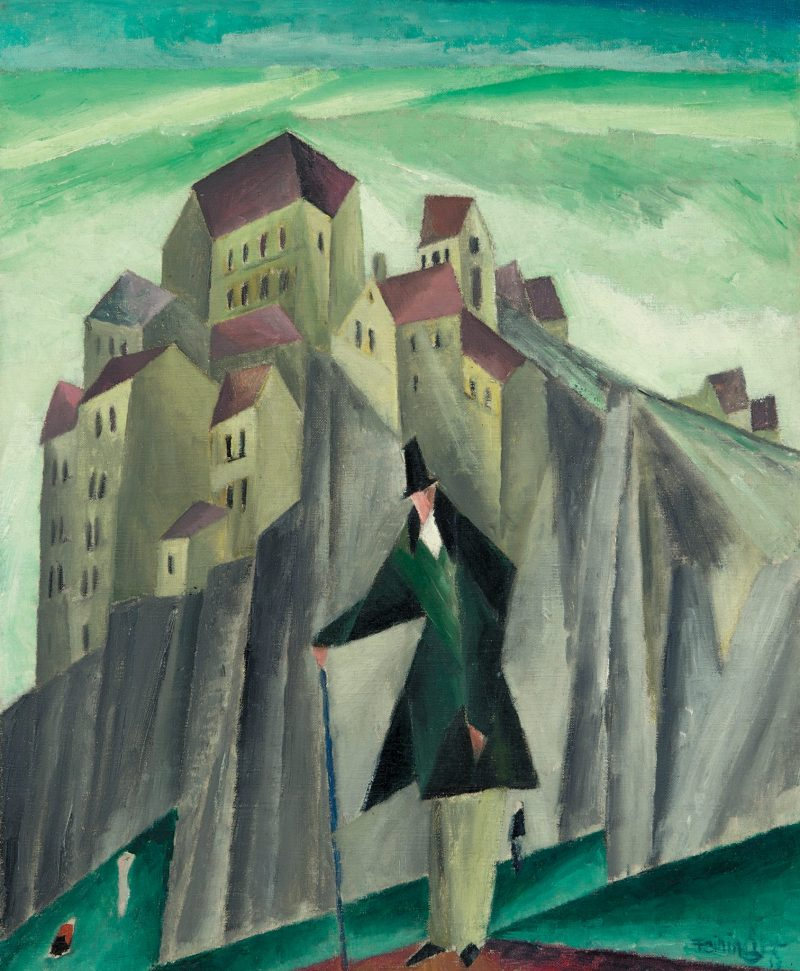 LYONEL FEININGER, Mann vor hohen Felsen, Deutscher Expressionismus, Ausstellung im Leopold Museum