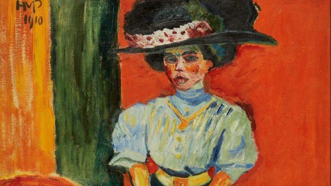 MAX PECHSTEIN 1881–1955, Junge Dame mit Federhut, Deutscher Expressionismus, Ausstellung im Leopold Museum, die sammlungen braglia und johenning