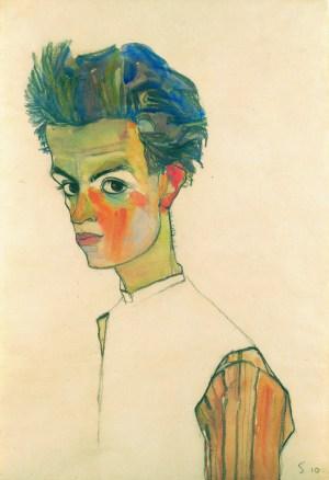 Egon Schiele, Selbstbildnis in gestreiftem Hemd,