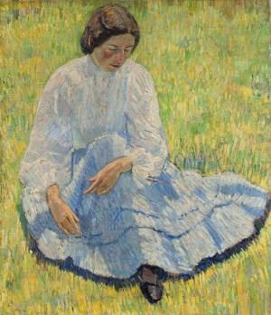 Robert Falk, Lisa in der Sonne, Impressionismus in Russland, Frau auf Wiese